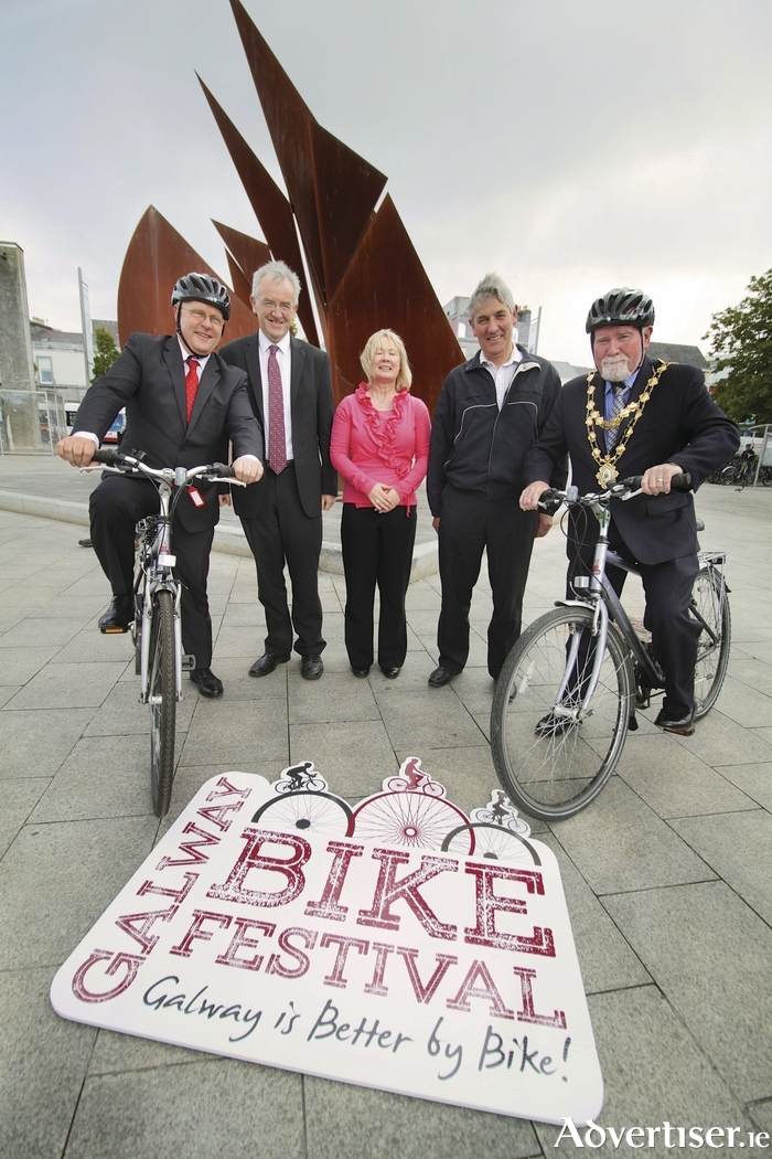 The Galway Bike Festival June 13th-21st 2015 was launched in Eyre Square on Friday attending were (l-r)  Brendan McGrath - chief executive of Galway City Council, Joe O'Neill - director of services Galway City Council, Helena Martyn, Transportation Dept. Galway City Council, Mick Curley Galway County Council and Mayor of Galway Donal Lyons.    Photo:-Mike Shaughnessy
