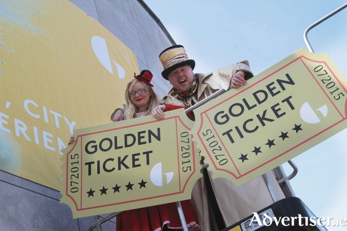 Marking the opening of the Galway International Arts Festival box office and the chance to win a Golden Ticket to all GIAF events,  were box office manager Andrea Healy and Philip Sweeney. Photo:- Mike Shaughnessy