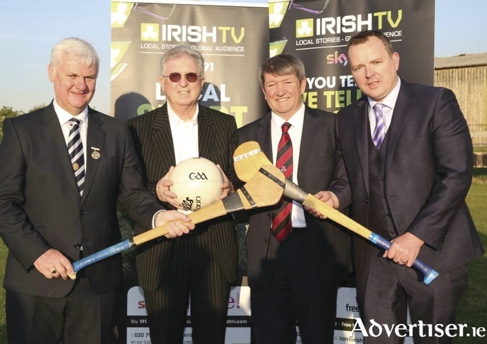Irish TV chairman John Griffin; Aogan O'Fearghail, president of the GAA; Noel O'Sullivan, chairman, London GAA and Pierce O'Reilly, CEO, Irish TV at the launch of the announcement of Irish TV's naming rights deals for London's newly redeveloped Ruislip grounds.