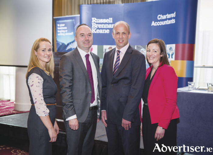 Speakers at the Russell Brennan Keane business event  were L to R: Fiona Murphy, Taxation Director, Russell Brennan Keane; Cathal Melia, Audit Partner, Russell Brennan Keane; Michael Lauhoff, Head of Business Banking Growth, Bank of Ireland and Catherine Sweeney, Corporate Compliance Manager, Russell Brennan Keane. Photo:  Harrison Media