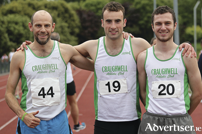 Top three in the Galway 5000m championship were Peter O 'Sullivan (runner-up,, Peadar Harvey (third), and winner Damien O Boyle, all Craughwell AC.