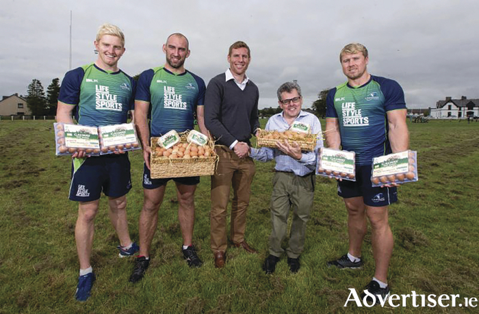 The healthy option: Connacht Rugby players Darragh Leader, John Muldoon, and Fionn Carr launch the new rugby summer camps with Connacht Rugby's commercial executive and Kevin Towey of sponsor Galway Free Range Eggs.