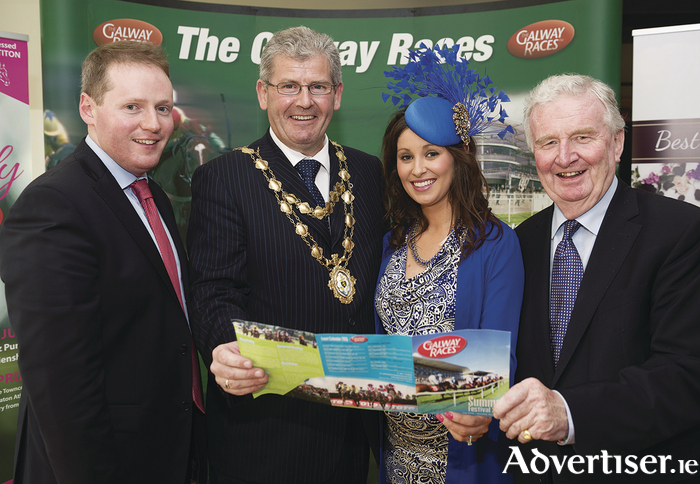 At the launch of The Galway Races summer festival 2015  at the Radisson blu Galway, were Michael Moloney; Mayor of Galway Cllr Frank Fahy; Sandra Ginnelly, Galway Race Course; and Terry Cunningham, chairman the Galway Race Course. 		Photo:Andrew Downes:XPOSURE