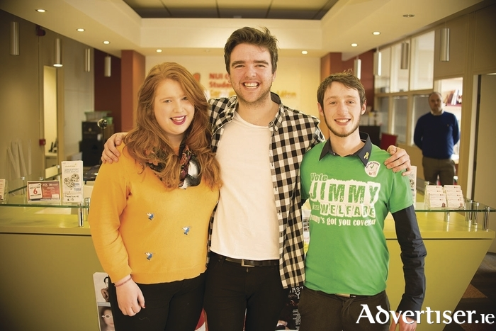 New student union heads: Rebecca Melvin (NUIG SU VP/education officer), Phelim Kelly (NUIG SU president) and Jimmy McGovern (NUIG SU VP/welfare officer).
