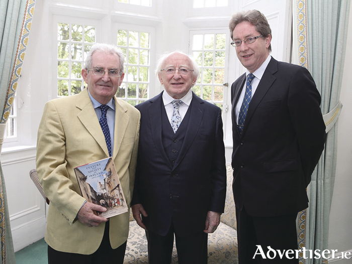 Professor Gearóid Ó Tuathaigh, President of Ireland Michael D Higgins and Dr Jim Browne, President of NUI Galway.