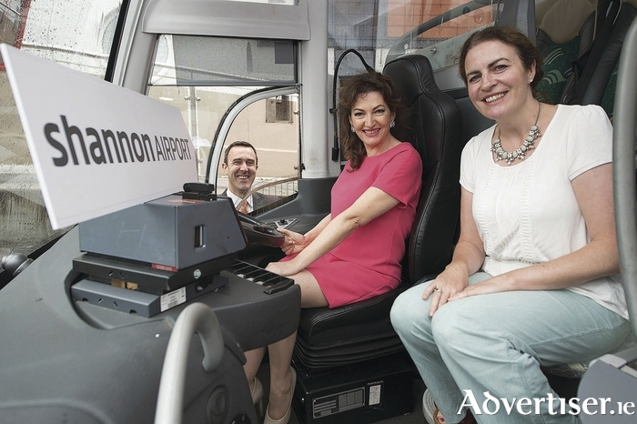Photographed at the launch of a non-stop, five times daily Bus Éireann service to Shannon to avail of the airport's busy international network were Andrew Murphy, chief commercial officer of  Shannon Group plc; Marie King McGovern, sales executive of Bus Éireann; and  Maura Derrane, RTE personality.
