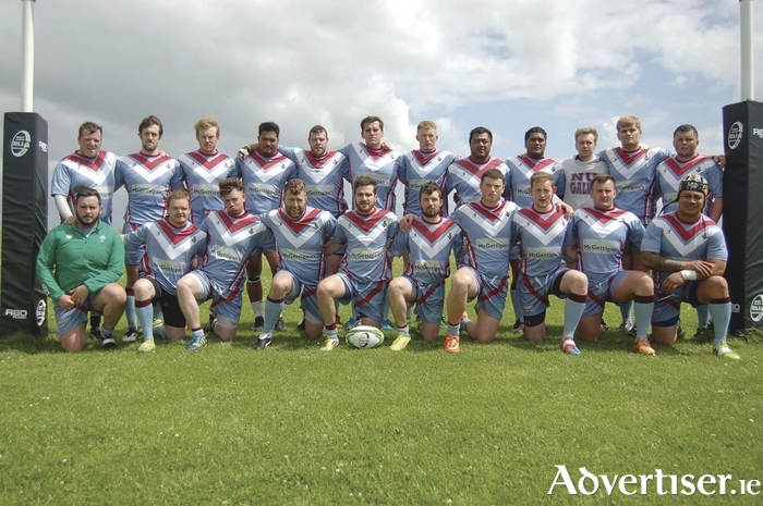The Tribesmen: Back row, Colin Flannery, Matthew Towey, Matthew Joyce, Mata Fifita, Emmet Grehan, Sean Wootton, Josh Nugent, Andrew Antonio, Sosefo Teisina, Paul Shaughnessy, Aaron Wootton, Aaron Byrne. Front row: Rory Rafferty, Dave Rowland, Mark Kavanagh, Joe Connolly, Sean Wason, Daithi Joyce, Conor Mackay, Jonathan Ryan, Aaron Murray and Anthony Leifi.