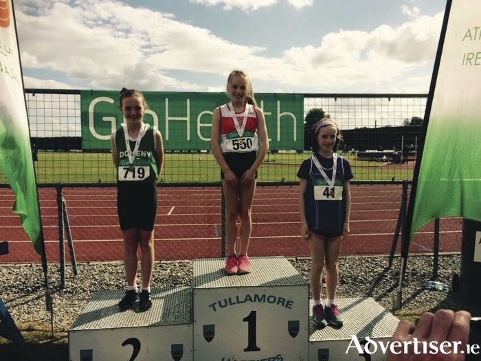 Emma Moore, winner of the u-12 600m at the GloHealth National Juvenile Track and Field Championships.