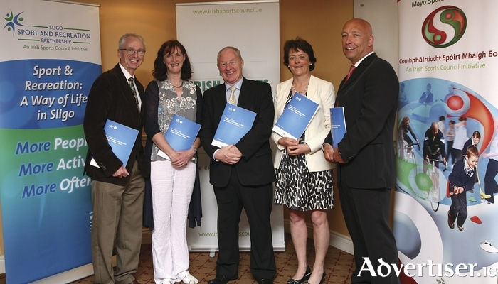 Minister of State for Tourism and Sport Michael Ring launched the Irish Sports Council report. Pictured at the launch are: John Tracy, chief executive of the Irish Sports Council, Una May, Irish Sports Council, Minister Ring, Deirdre Lavin, Sligo Sport and Recreation, and Charlie Lambert, Mayo Sports Partnership. Photo: Heverin Print