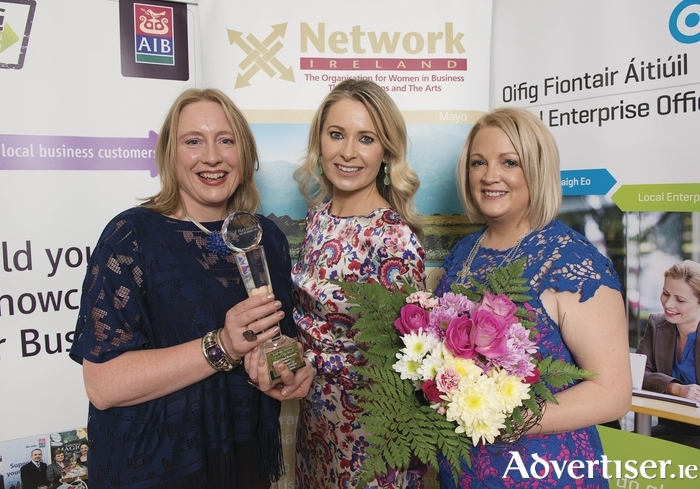 From left is Businesswoman of the Year Caroline Joyce (best established business) with RTÉ newscaster Sharon Ní Bheoláin, and Network Mayo president Toni Bourke. Photo: Michael McLaughlin.