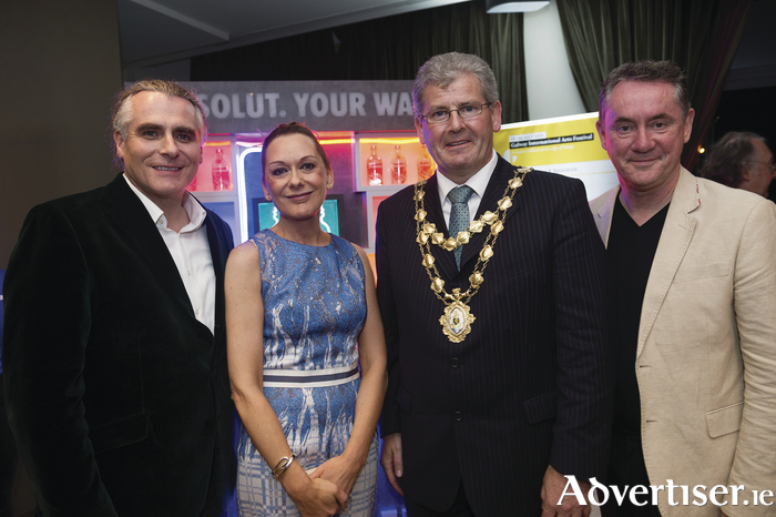 Paul Fahy, artistic director Galway International Arts Festival (GIAF); actor Cathy Belton; mayor of Galway Cllr Frank Fahy and John Crumlish chief executive GIAF at the opening.