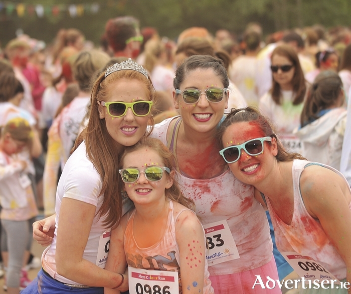 Colour and fun: Maeve McNamara, Marie Gallagher, Nollaig and Maura McLoughlin, pictured at the Mayo Colour Run in aid of Aware at Lough Lannagh, Castlebar, on Sunday. Photo: Conor McKeown.