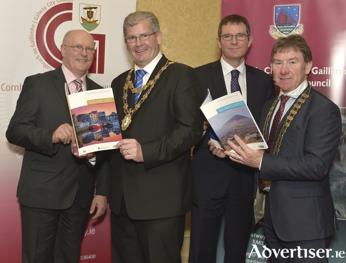 Attending the launch of the joint Galway City and Galway County Economic Baseline Study on Tuesday morning in the Galway Bay Hotel, Salthill were: Brendan McGrath, Chief Executive, Galway City Council; Mayor of Galway City, Frank Fahy; Interim Chief Executive, Galway County Council, Kevin Kelly; and Cllr. Peter Roche, Cathaoirleach, Galway County Council. Photo:- Joe Travers