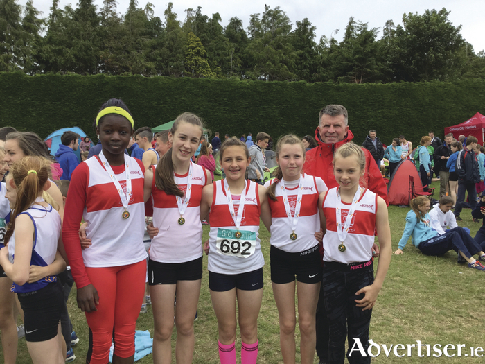 U13 gold, from left to right: Sarah Agboola,  Sinead Duggan, Chellene Trill, Emer Rowe and Emma Moore.