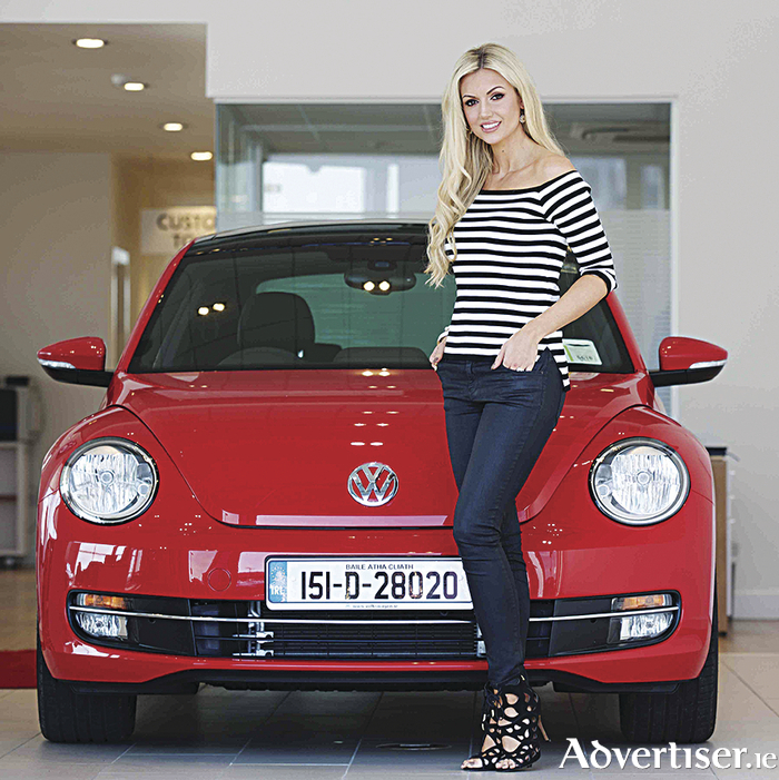 Volkswagen brand ambassador, Rosanna Davidson, with the new VW Beetle.