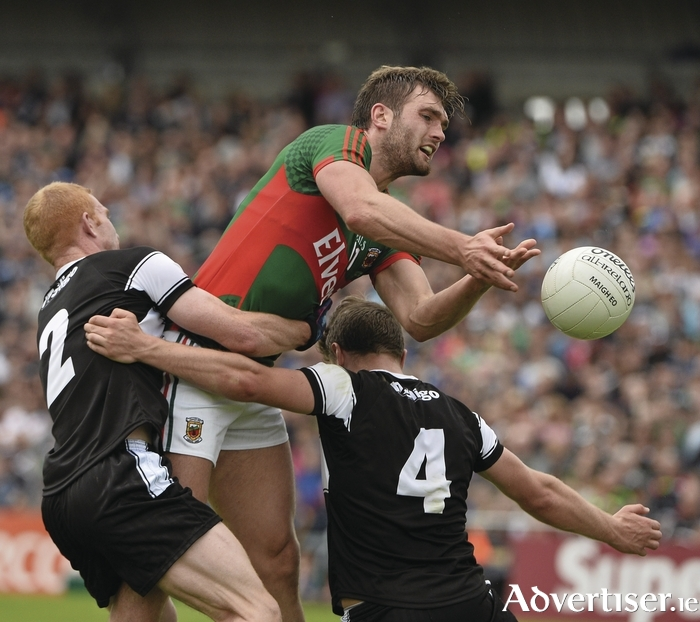 No stopping him: Aidan O'Shea was in unstoppable form last Sunday for Mayo. Photo: Sportsfile