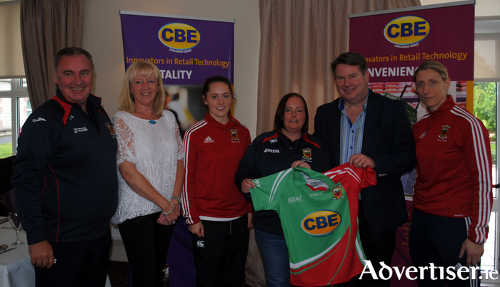 Frank Brown (Mayo Ladies, Senior Manager) Marie Basquille (Director T-Rex Clothing) Doireann Hughes (Mayo Ladies) Yvonne McEvilly  (Mayo Ladies Chairperson) Seamus Murray (CBE) and Cora Staunton (Mayo Ladies captain) at a recent sponsorship evening.