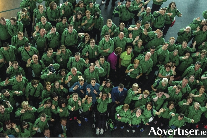 Green team: The members of Team Ireland ready for off at Dublin Airport on Tuesday. Photo: Ray McManus/Sportsfile