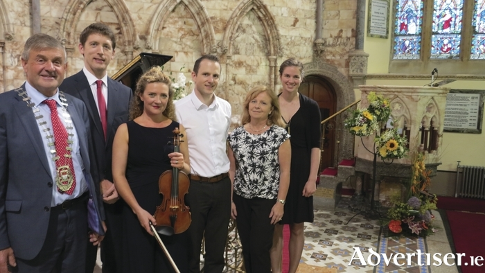 Pictured at the launch of the Westport Festival of Chamber Music were, from left: Cllr Michael Holmes, Cathaoirleach of Mayo County Council, pianist Finghin Collins, violinist Elizabeth Cooney, and Mark Quick, Jude Davis and Sarah Quick, from Nephin Whiskey.