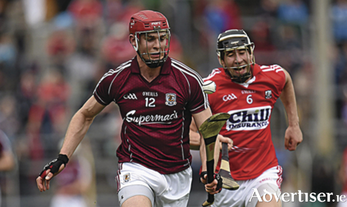 Galway's Jonathan Glynn in action against Mark Ellis of Cork during the All-Ireland Senior Championship quarter-final. Picture by Stephen McCarthy.