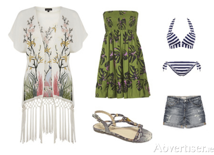 From left: Kimono by Warehouse, dress by Topshop, sandals from Cinders, bikini from New Look, shorts from Zara.