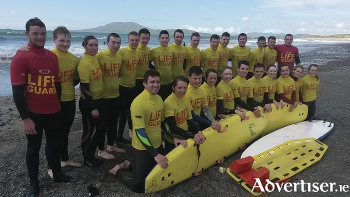 Keeping you safe this summer: Lifeguards employed by Mayo County Council on beaches this summer. Back row: Rory Tuohy, Ronan Molloy, Leanne  Walshe, Fintan Waldron, Dara Feeney, Patrick Livingstone, Cillian Melly, Clive Hennigan, David Walsh, Eoin Mitchell, Brian McCormack, Diarmaid Joyce, Stephen Smyth, Conor Tuohy, Harry Cronin. Front: Conal Joyce, Doireann Dever, Killian Dervan, Louise Dervan, Ciara Breslin, David Conlon, Eoghan Grady, Eimear Melly, Aisling Grady, Ann Sweeney, Kate Mitchell.
