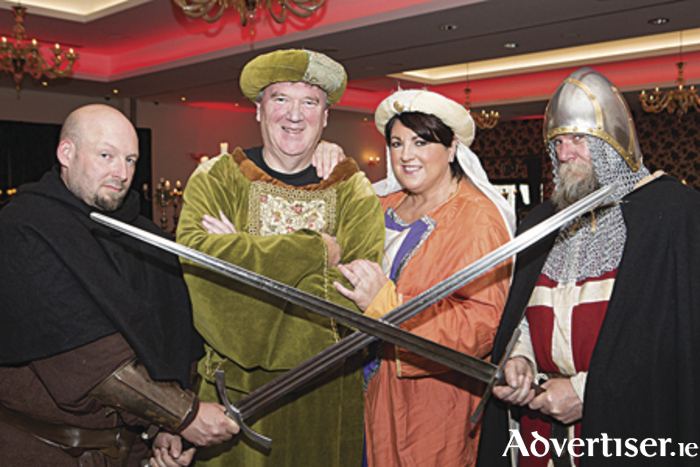 Hugh Kerrigan, Pat and Una McDonagh and Paul Wickham attending the Medieval Banquet at the Lough Rea Hotel & Spa which launched the celebrations for Loughrea's first Medieval Festival. Photo Martina Regan