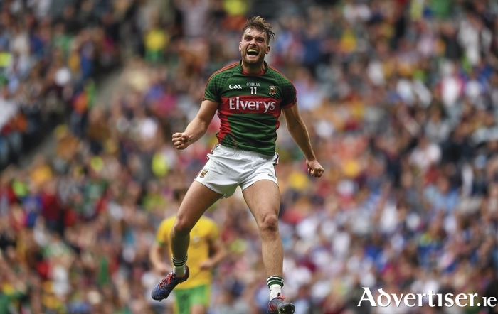 Jumping for joy: Aidan O'Shea celebrates his goal against Donegal. Photo: Sportsfile