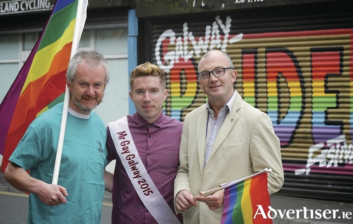 Galway Pride Committee member Tommy Roddy, Mr Gay Galway Gary Ridge, and Galway Pride chair Eamonn Cunniss getting ready for the 26th Galway Pride which starts today (Thursday August 13). Photo:- Mike Shaughnessy