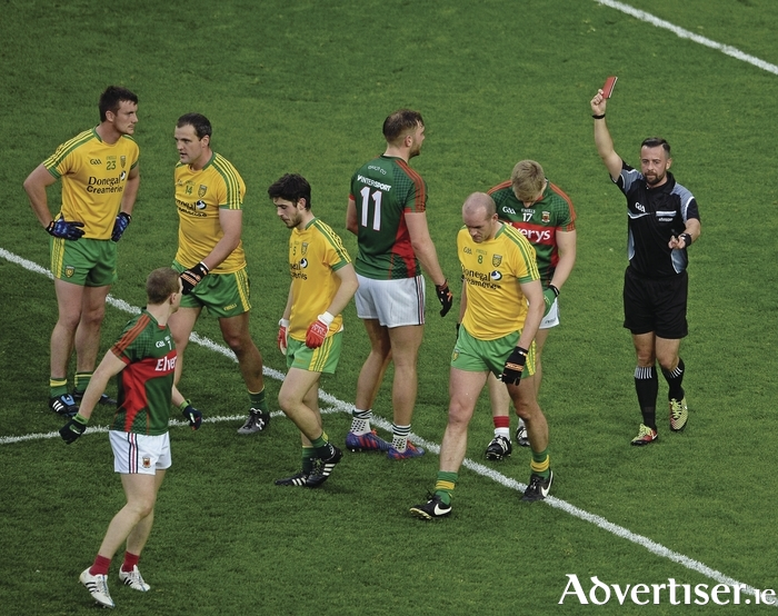 Seeing red: Kevin Keane gets his marching orders in the Donegal game. Photo:Sportsfile