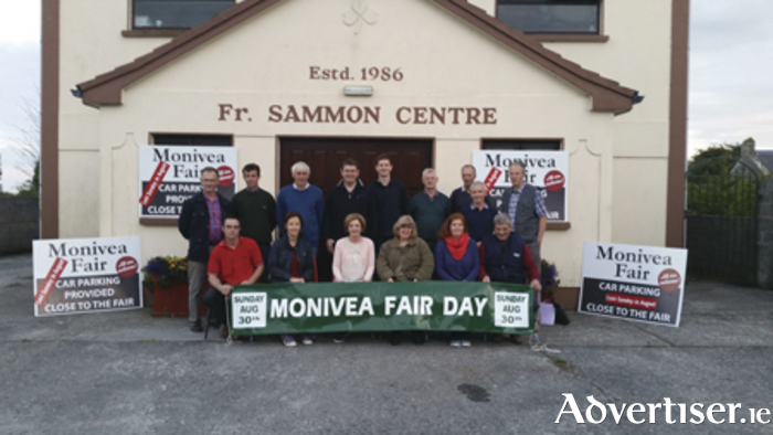 Attending the launch of the Monivea Fair are; back l-r, Séamus Cooke, Tomás Mannion, Martin O'Brien, Enda Keehan, Paul Gallagher, Paddy Moyles, Michael McDermott, Gerry Farrell, and Gerard Costello. Front l to r; Anthony Treacy, Mary Murphy, Anne Farrell, Virginia Moyles, Elaine Kenny, and Michéal Conneally.