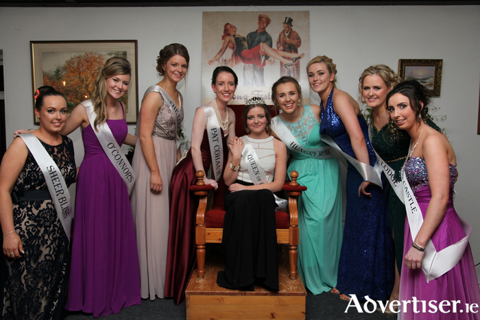 Queen of Cong Nicola O'Haire representing Puddleducks Cafe, Cong is pictured here with her fellow contestants at the Queen of Cong Selection evening at Lydons Lodge: Left to right: Clodagh Maloney (Sheer Bliss), Rachel Kelly (O'Connors), Niamh Varley (The Lodge), Aoife Munroe (Pat Cohans), Queen of Cong Nicola O'Haire representing Puddleducks Cafe, Niamh O'Mahoney (Hungrey Monk), Lelia Winters (Corrib Cruises ), Laura Flynn (Lydons Lodge) and Stacey Porter (Ashford Castle) Photo: Trish Forde.