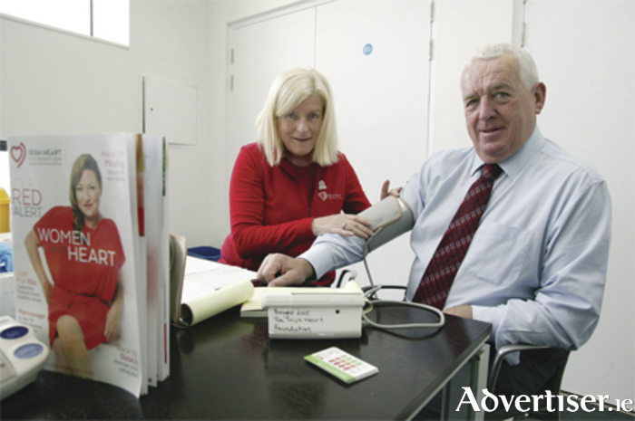 The Irish Times and Pfizer Healthy Town programme kicked off with health checks for local councillors provided by the Irish Heart Foundation. Pictured after receiving his health check last Monday is Mayor of Athlone, Tom Farrell, with Emer McNulty from The Irish Heart Foundation. Photo: molloyphotography