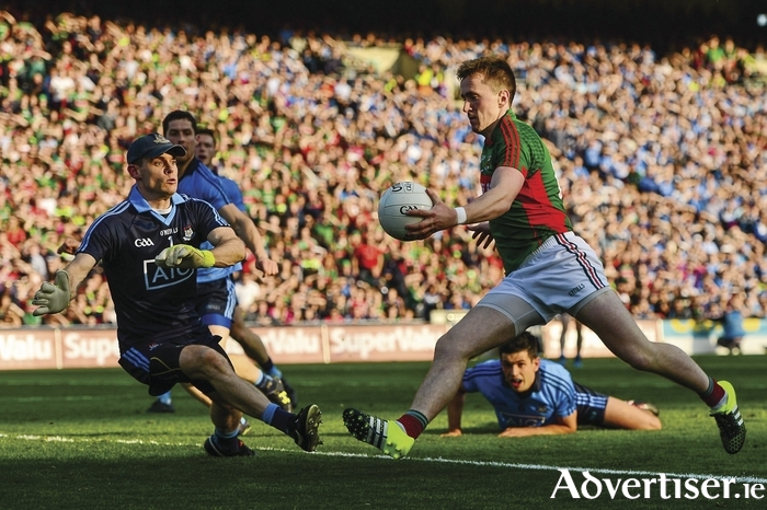 Close but not close enough, Cillian O'Connor finds the back of the net for Mayo last Sunday. Photo: Sportsfile