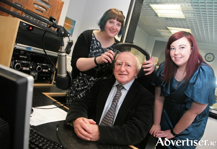Michael D Higgins pictured in 2009 with Paul Healy (left), the Flirt FM station manager and Louise Clarke, then production manager, now with iRadio, at the opening of the new Flirt FM studio. Photo:-Mike Shaughnessy