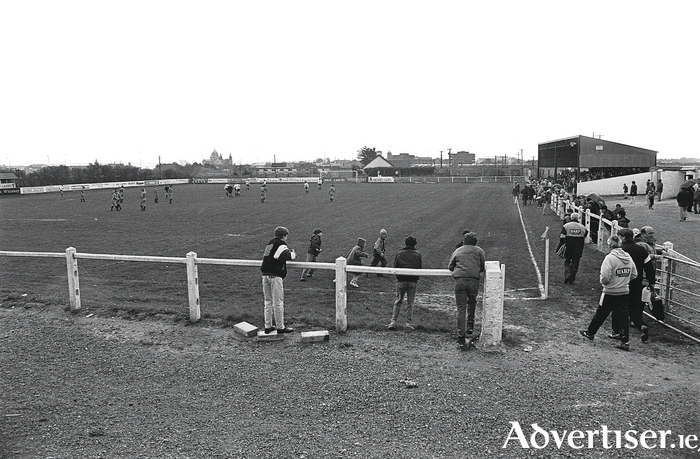 Terryland Park in the early 1990s, before the ground was redeveloped. The goal in the background is where the new Corribside Stand is now; the shed on the left is where the river-side goal is today. Photo courtesy the Connacht Tribune.