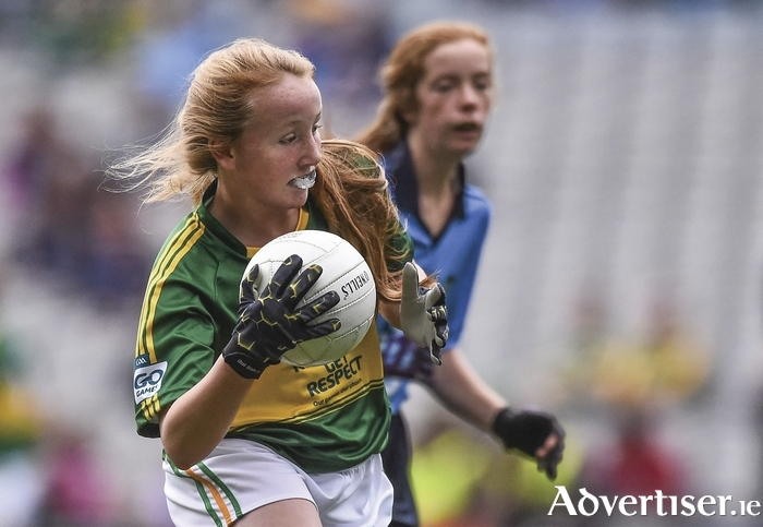 Finola Collins, St Oliver Plunkett NS, Ballina in action in Croke Park last weekend at the All Ireland final in the Go Games exhibition. Photo: Sportsfile