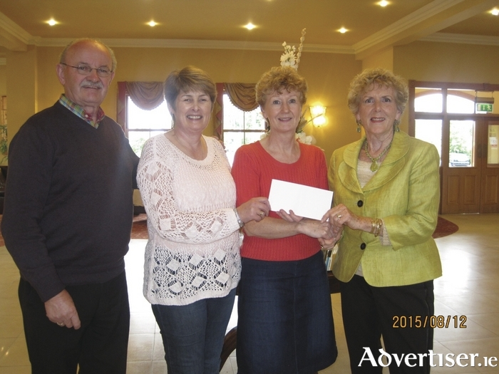 Pictured at the cheque presentation in Hotel Ballina of €1,200 raised by members of the Mayo Association of Toronto, Canada, to CEO of Mayo Roscommon Hospice Cynthia Clampett, were from left  Jim Kelleher, Valerie Rowland, Cynthia Clampett, and Mary Kelleher.