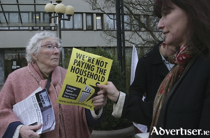 Barbara Mullery (left) and Margaret Feehan pictured in 2012 at a demonstration outside City Hall against the Property Tax. Photo:-Mike Shaughnessy