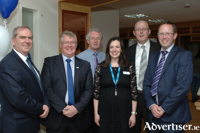 Kevin Johnson, CEO of CUDA, Charlie Boyle, CEO of CSEI, Ita Griffin, Marketing Manager of St. Jarlath's Credit Union and Ted Coyle, Operations Manager of St. Anthony's & Claddagh Credit Union.Back row, left to right, Mick Culkeen, CEO of St. Jarlath's Credit Union and Gerry Joyce of St. Anthony's & Claddagh Credit Union.