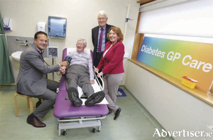 Pictured are: Minister for Health Leo Varadkar; Minister for Primary Care, Social  Care and Mental Health, Kathleen Lynch; Dr John Latham; and Paddy Tyndall, at the official launch of the new Diabetes Cycle of Care service at the Thomas Court Primary Care Centre