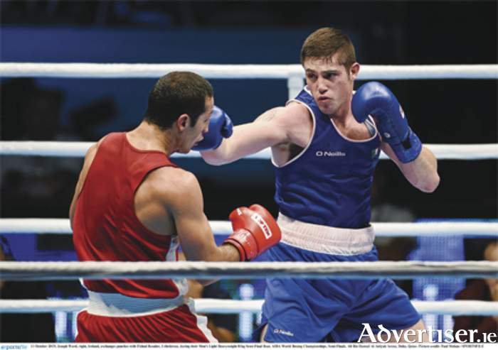 Joseph Ward, right, Ireland, exchanges punches with Elshod Rasulov, Uzbekistan, during their Men's Light Heavyweight 81kg Semi-Final Bout. AIBA World Boxing Championships, Semi-Finals. Ali Bin Hamad Al Attiyah Arena, Doha, Qatar. Picture credit: Paul Mohan / SPORTSFILE