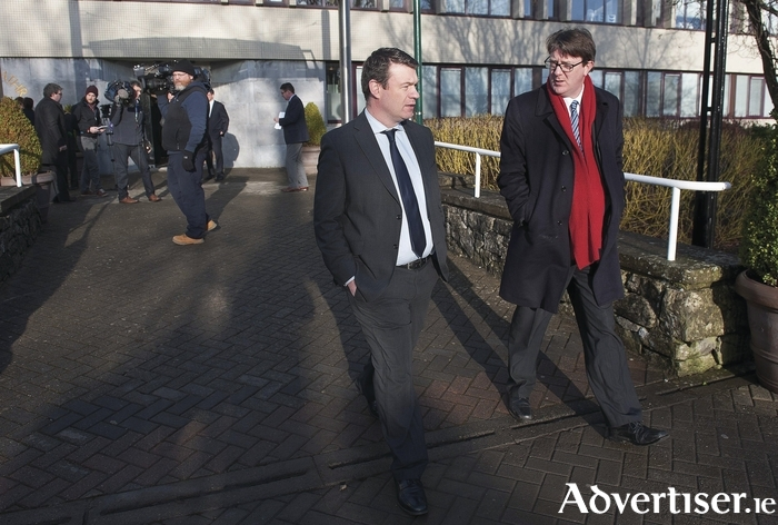Environment Minister Alan Kelly and Labour councillor Niall McNelis outside City Hall recently. Can Cllr McNelis do anything to persuade Minister Kelly to tackle galway's accommodation crisis? Photo:- Andrew Downes