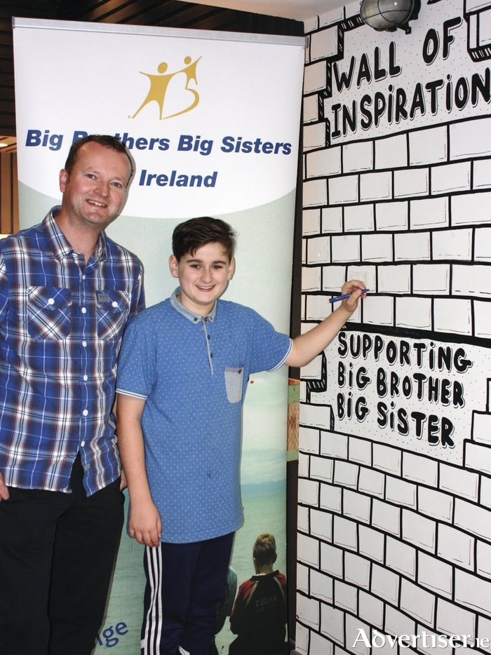 Pictured at the Wall of Inspiration Fundraiser for Foróige's Big Brother Big Sister Youth Mentoring Programme are Big Brother, Denis Guniey and Little Brother Ethan Fuller.