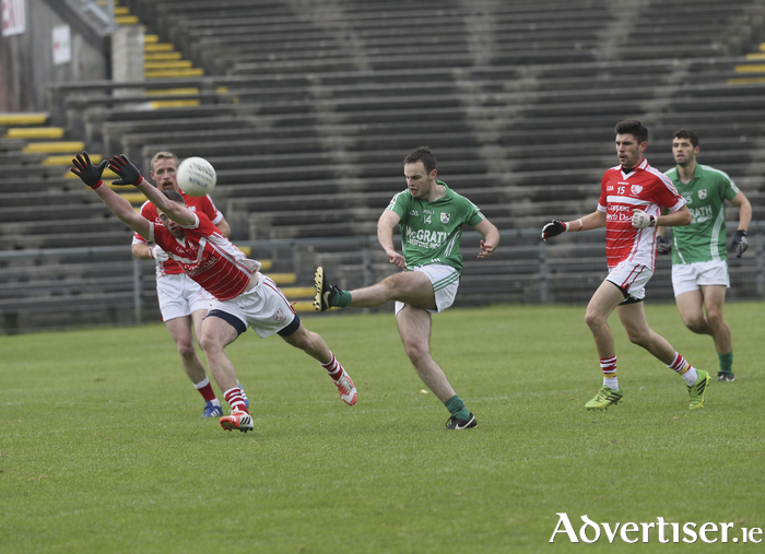 Over the bar: The Neale's Sean Cosgrove will be hoping to shoot his side to victory on Sunday. Photo: Michael Donnelly