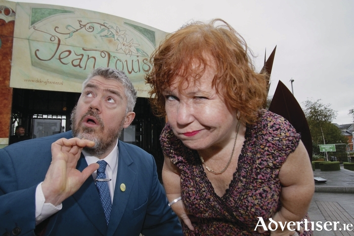 Comedians Phill Jupitus and Tanyalee Davis outside the Spiegeltent. Photo:- Mike Shaughnessy