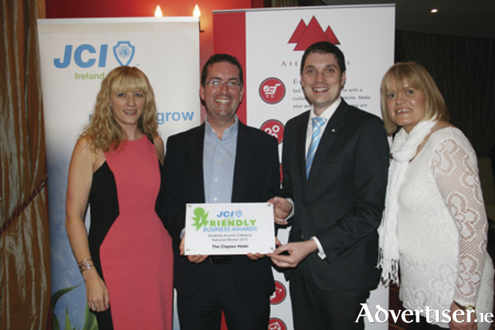 Mairead Melody, Darragh O'Connor and Clare Gohery from Clayton Hotel Galway, together with JCI Galway president, Ronan Walsh, at the JCI Ireland Friendly Business Awards 2015, where Clayton Hotel Galway was selected as national winner in the Disability Access category of the awards.