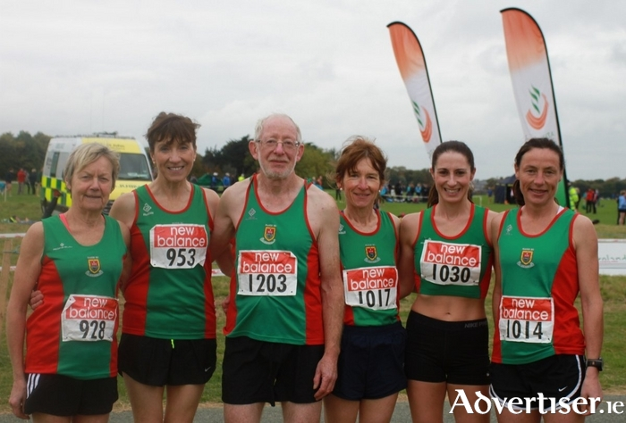 Mayo AC Masters at Phoenix Park Open Autumn Trial: Mags Glavey, Pauline Moran, Tom Hunt, Angela O'Connor, Norah Newcombe, and Colette Tuohy.