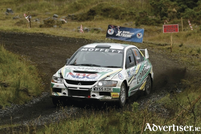 Winners Josh Moffett and Jason McKenna in their Mitsubishi Evo. Photo: James Burke