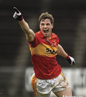 Hat-trick hero: Neil Douglas celebrates his second goal, as Castlebar Mitchels saw off Breaffy in the county final. Photo: Sportsfile